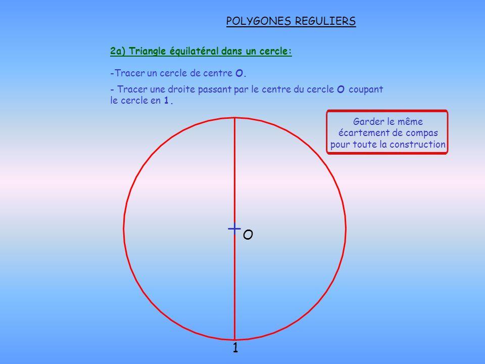 2a) Triangle équilatéral dans un cercle: