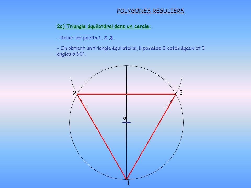 2c) Triangle équilatéral dans un cercle: