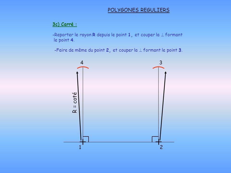 R = coté POLYGONES REGULIERS 4 3 1 2 3c) Carré :