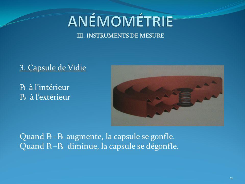 III. INSTRUMENTS DE MESURE