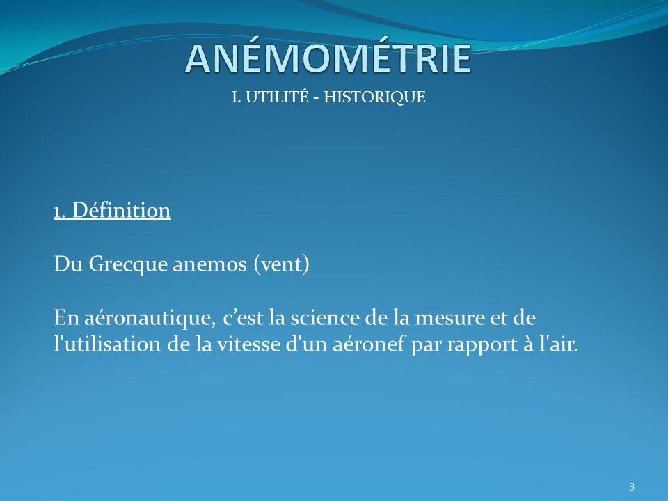 ANÉMOMÉTRIE 1. Définition Du Grecque anemos (vent)