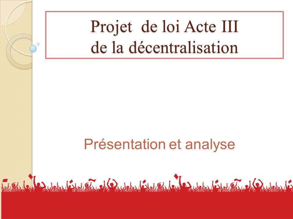 Projet de loi Acte III de la décentralisation