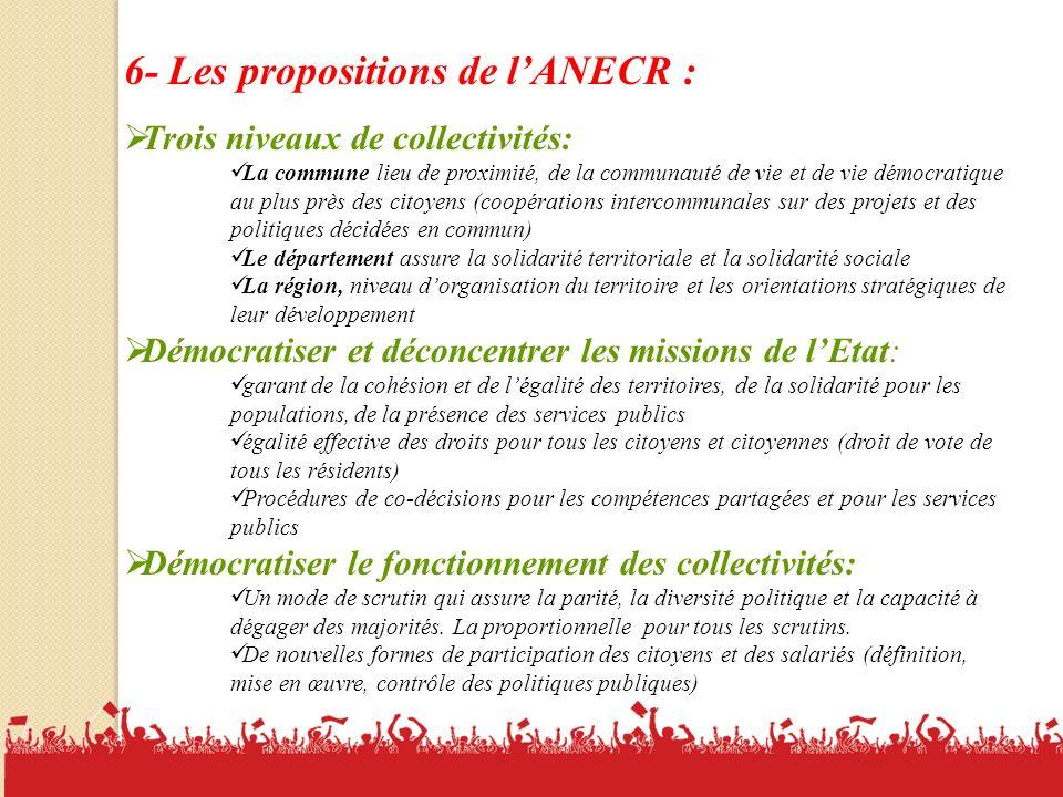 6- Les propositions de l'ANECR :