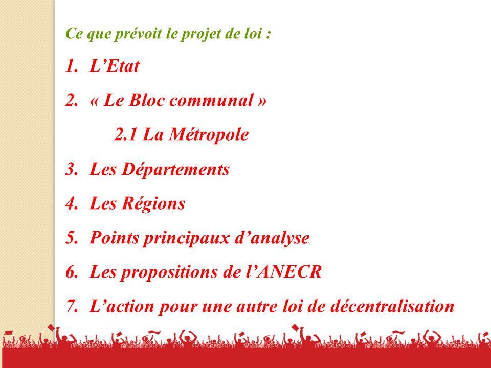 Points principaux d'analyse Les propositions de l'ANECR