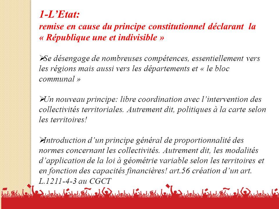 1-L'Etat: remise en cause du principe constitutionnel déclarant la « République une et indivisible »
