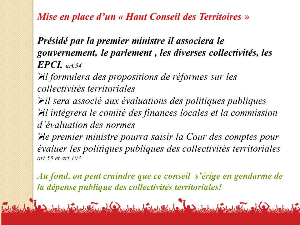 Mise en place d'un « Haut Conseil des Territoires »
