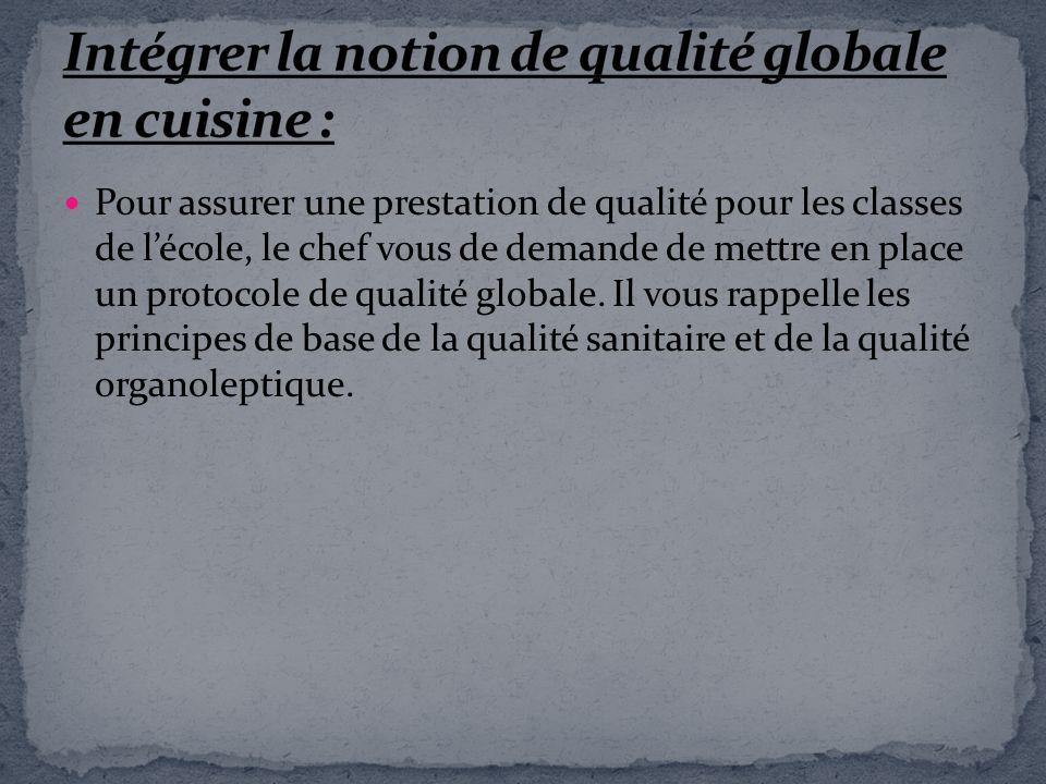 Intégrer la notion de qualité globale en cuisine :