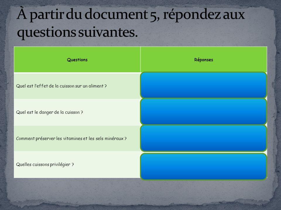 À partir du document 5, répondez aux questions suivantes.