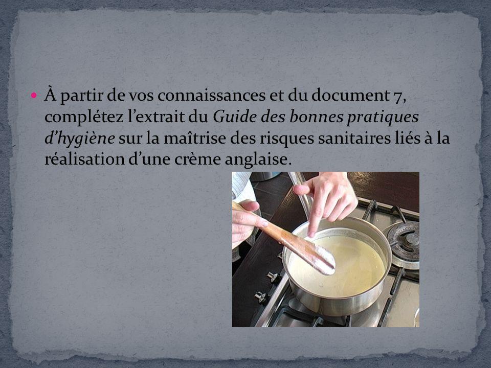 À partir de vos connaissances et du document 7, complétez l'extrait du Guide des bonnes pratiques d'hygiène sur la maîtrise des risques sanitaires liés à la réalisation d'une crème anglaise.