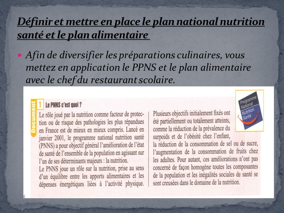 Définir et mettre en place le plan national nutrition santé et le plan alimentaire