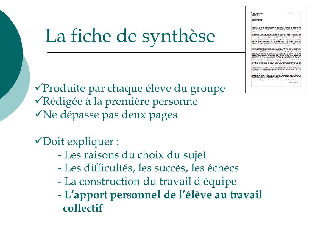 La fiche de synthèse Produite par chaque élève du groupe