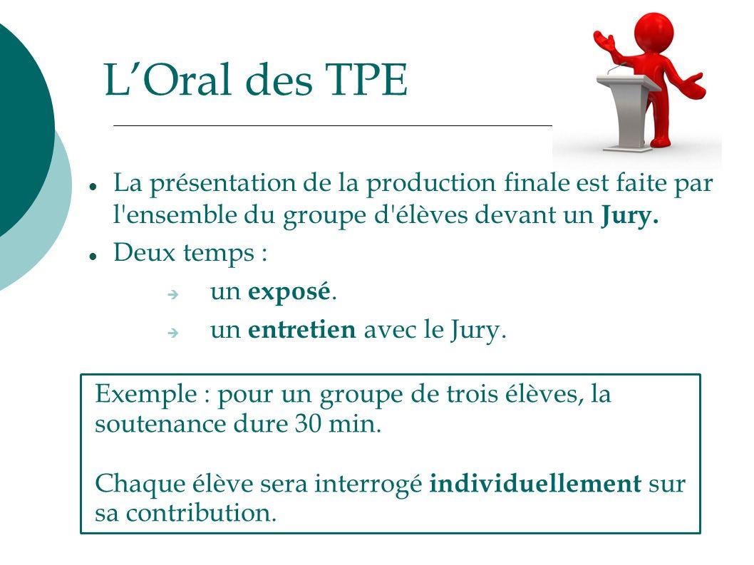 L'Oral des TPE La présentation de la production finale est faite par l ensemble du groupe d élèves devant un Jury.