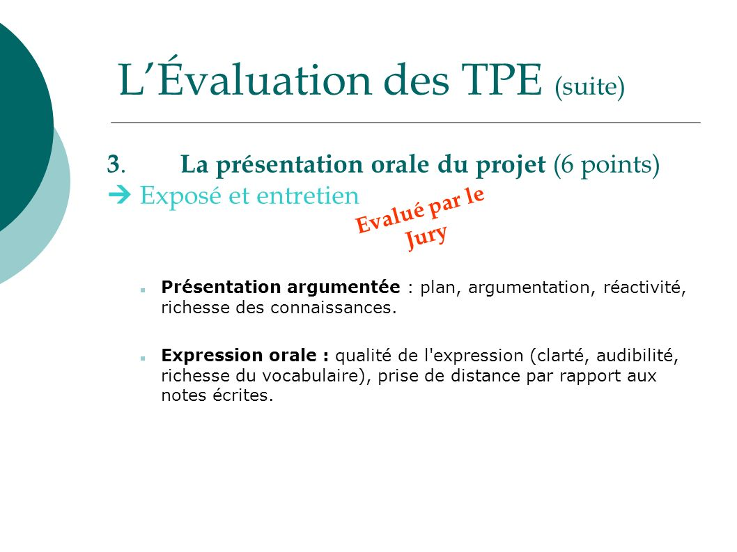 L'Évaluation des TPE (suite)