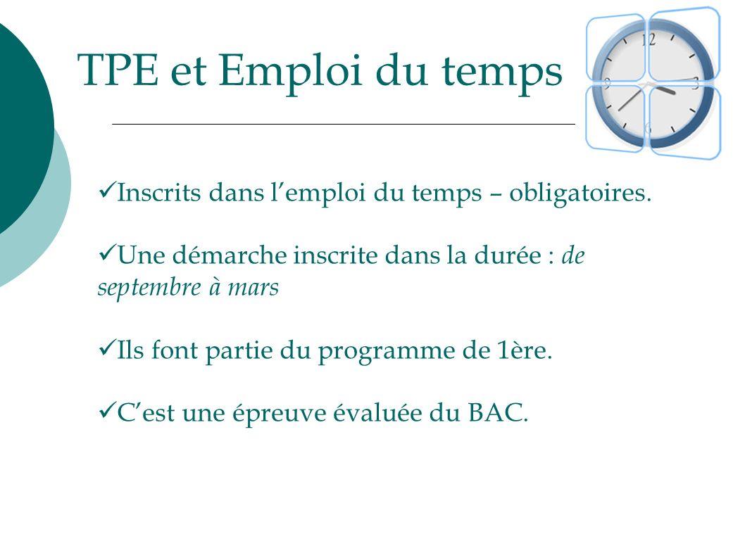 TPE et Emploi du temps Inscrits dans l'emploi du temps – obligatoires.