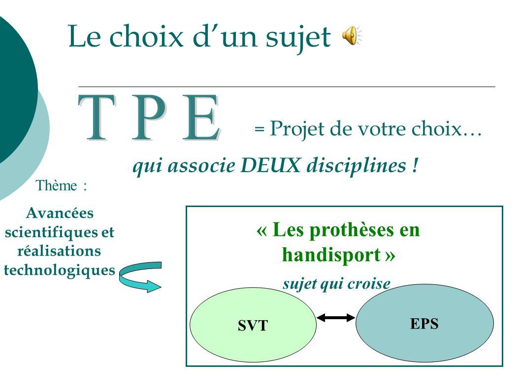 T P E Le choix d'un sujet qui associe DEUX disciplines !