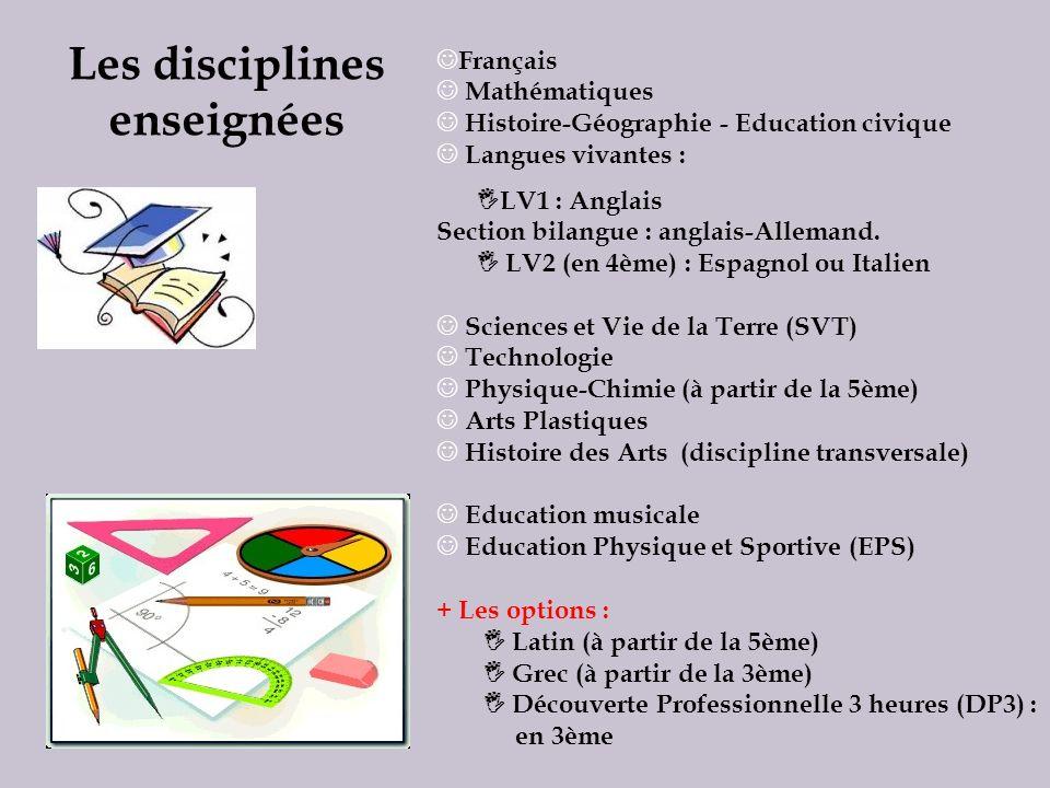Les disciplines enseignées