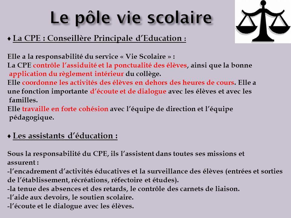 Le pôle vie scolaire ♦ La CPE : Conseillère Principale d'Education :