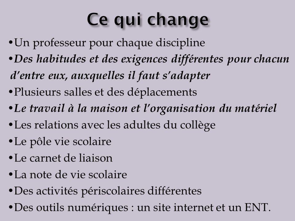 Ce qui change •Un professeur pour chaque discipline