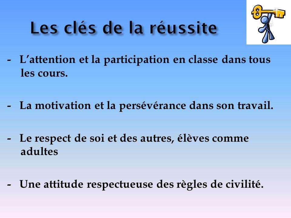 Les clés de la réussite - L'attention et la participation en classe dans tous les cours. - La motivation et la persévérance dans son travail.