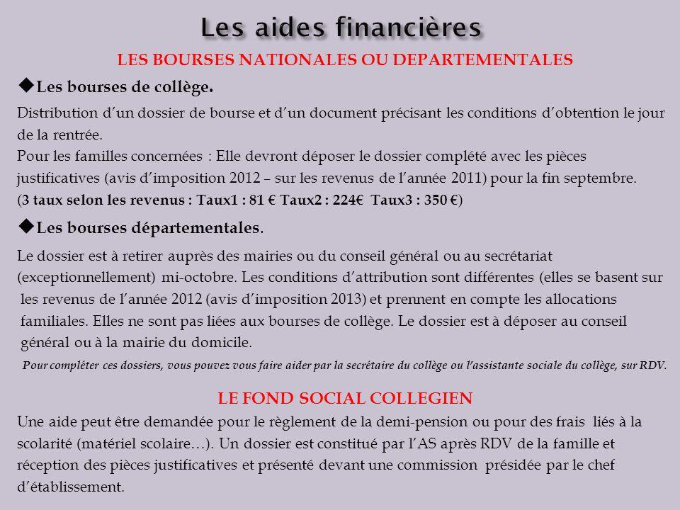 LES BOURSES NATIONALES OU DEPARTEMENTALES LE FOND SOCIAL COLLEGIEN