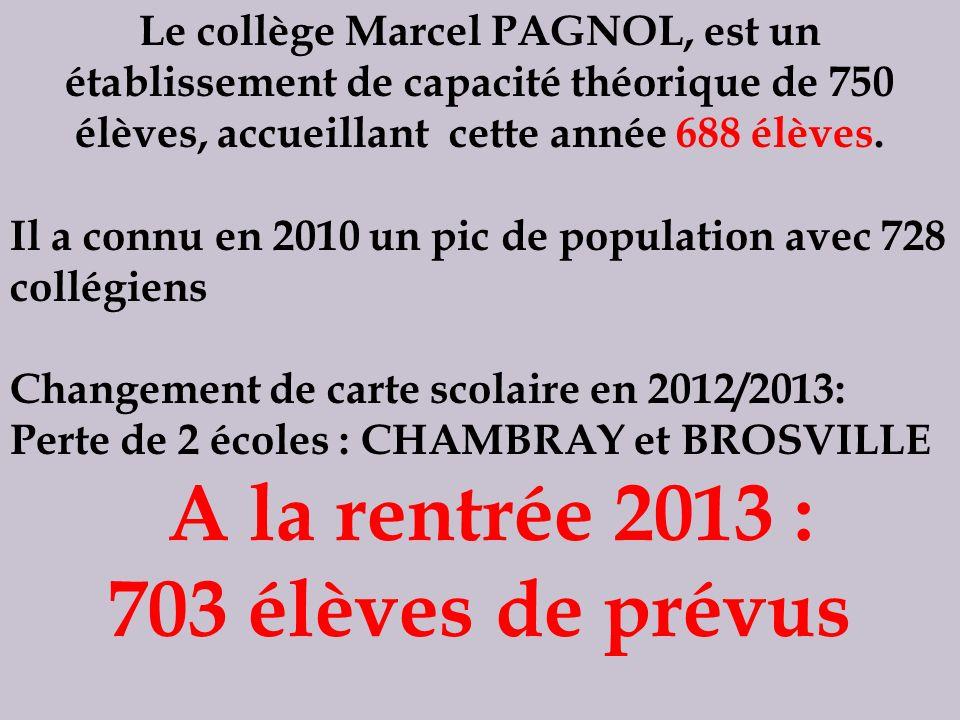 A la rentrée 2013 : 703 élèves de prévus