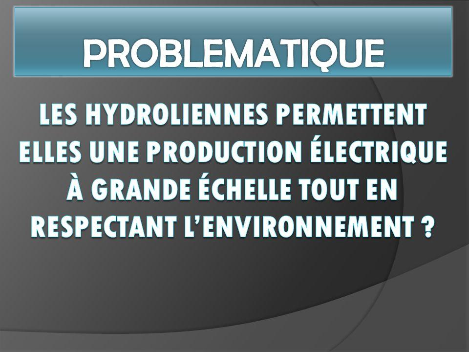 PROBLEMATIQUE Les hydroliennes permettent elles une production électrique à grande échelle TOUT EN RESPECTANT L'ENVIRONNEMENT