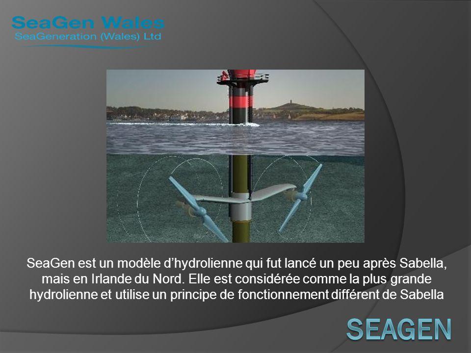 SeaGen est un modèle d'hydrolienne qui fut lancé un peu après Sabella, mais en Irlande du Nord. Elle est considérée comme la plus grande hydrolienne et utilise un principe de fonctionnement différent de Sabella