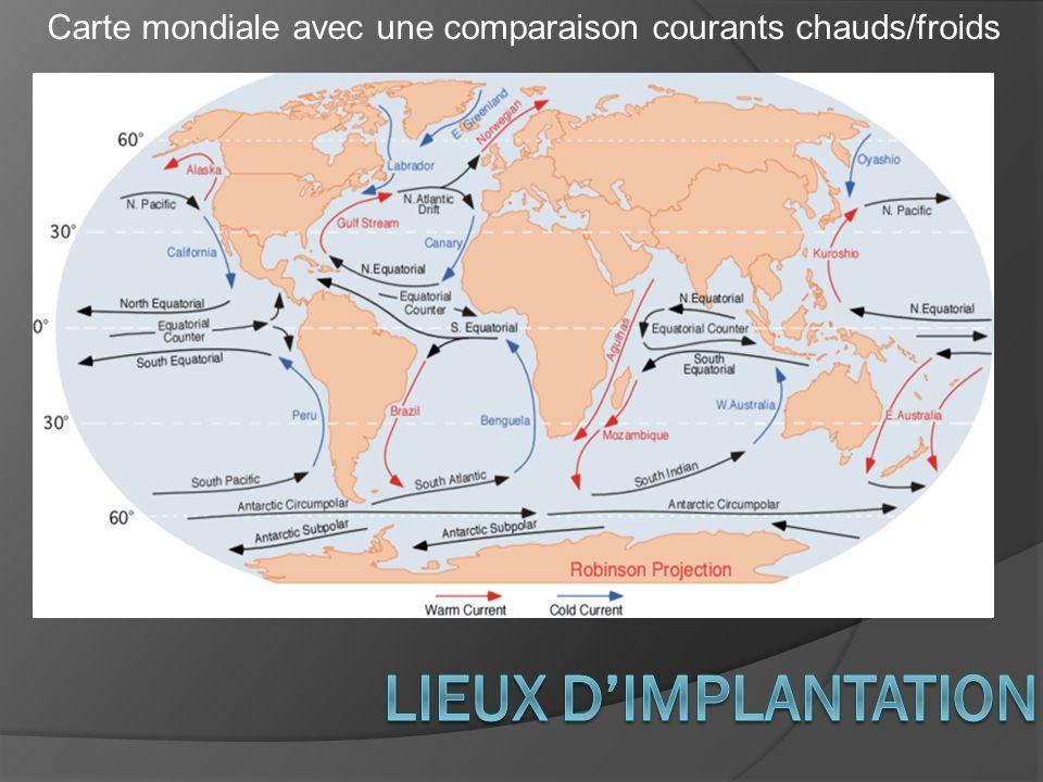 Carte mondiale avec une comparaison courants chauds/froids