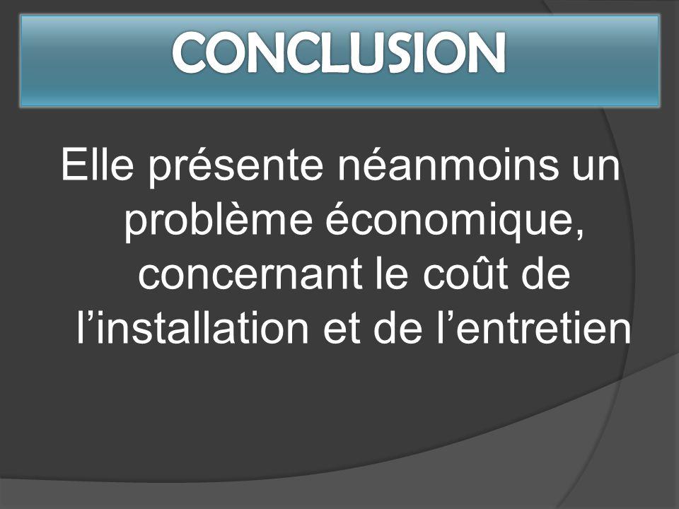 CONCLUSION Elle présente néanmoins un problème économique, concernant le coût de l'installation et de l'entretien.