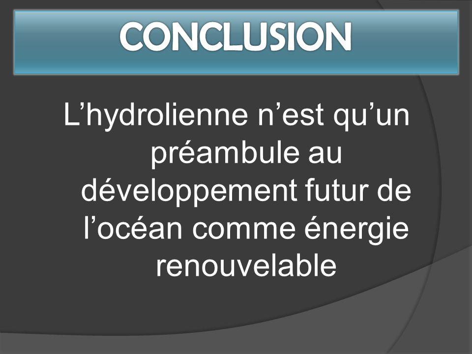 CONCLUSION L'hydrolienne n'est qu'un préambule au développement futur de l'océan comme énergie renouvelable.
