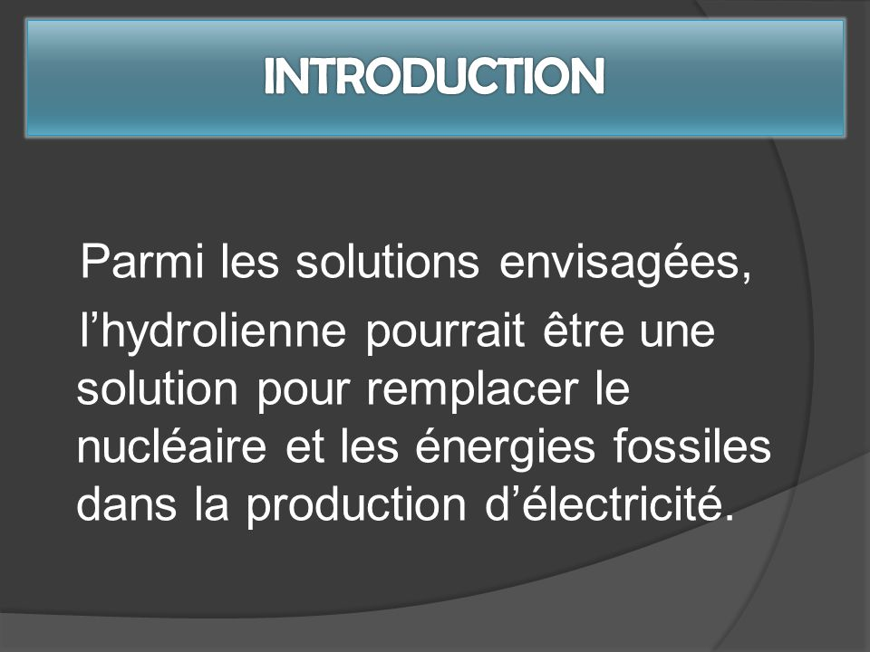 INTRODUCTION Parmi les solutions envisagées,