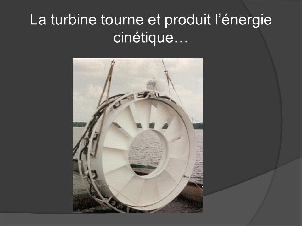 La turbine tourne et produit l'énergie cinétique…