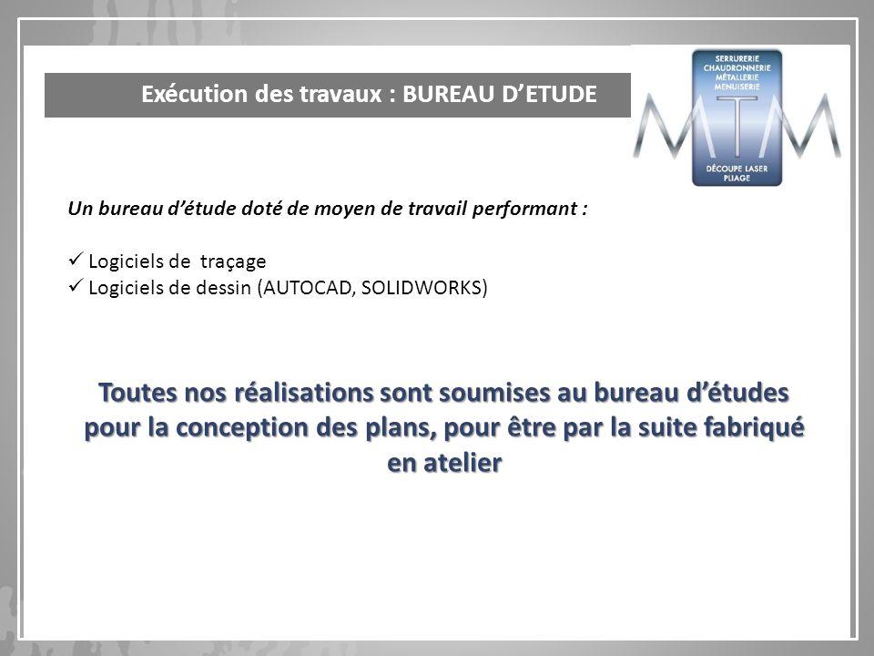 Exécution des travaux : BUREAU D'ETUDE