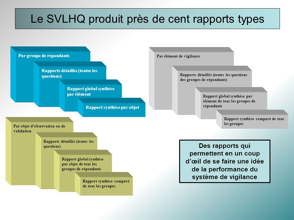 Le SVLHQ produit près de cent rapports types