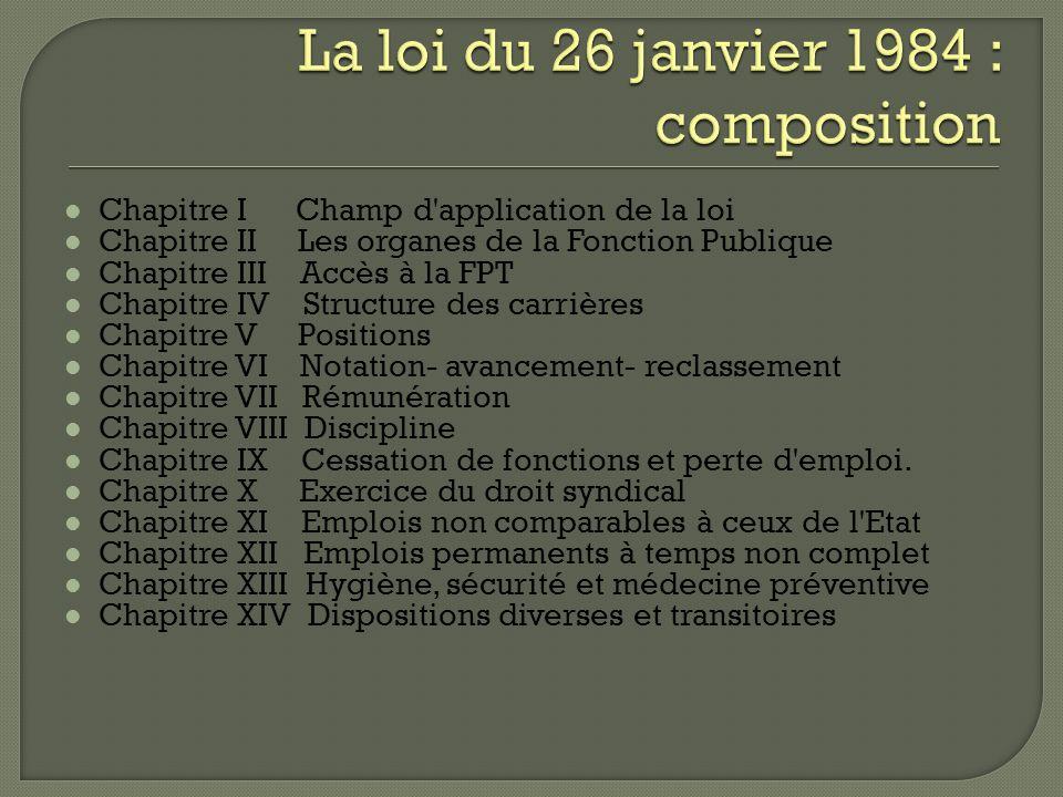 La loi du 26 janvier 1984 : composition