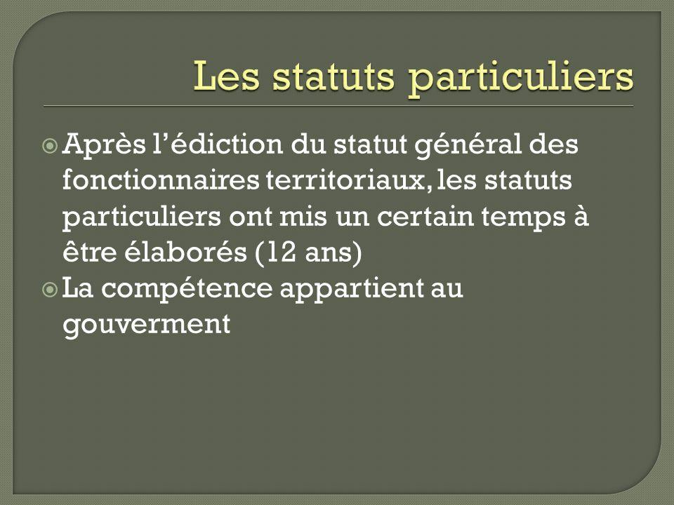 Les statuts particuliers
