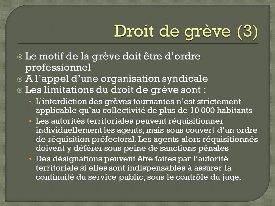 Droit de grève (3) Le motif de la grève doit être d'ordre professionnel. A l'appel d'une organisation syndicale.