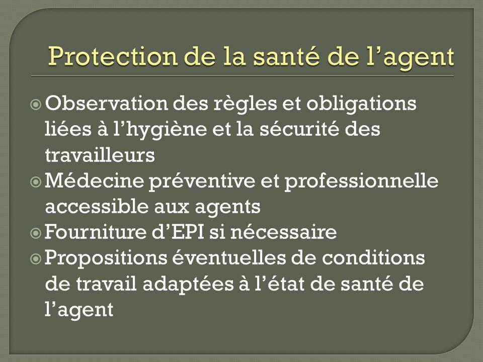 Protection de la santé de l'agent