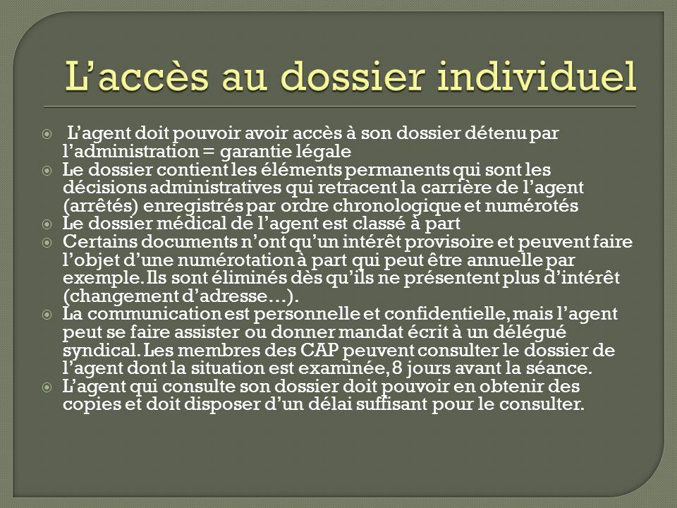 L'accès au dossier individuel