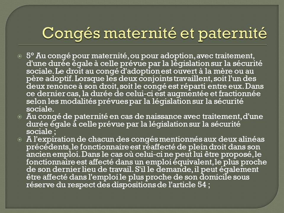 Congés maternité et paternité