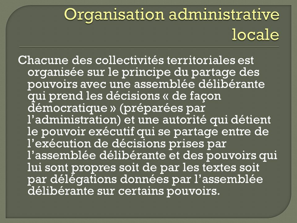 Organisation administrative locale