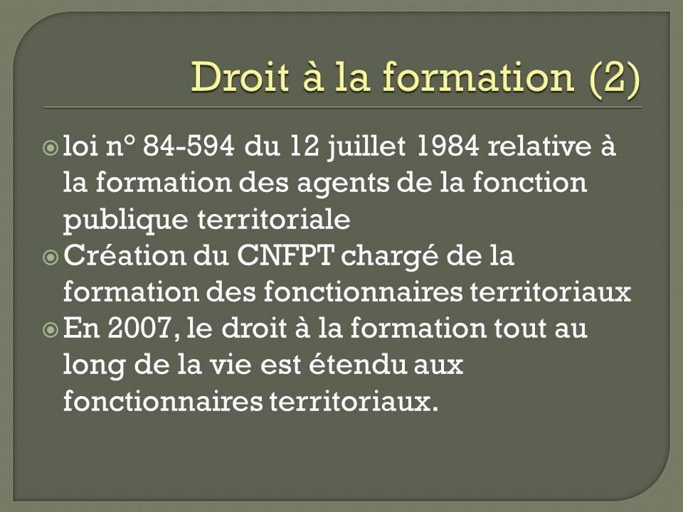 Droit à la formation (2) loi n° 84-594 du 12 juillet 1984 relative à la formation des agents de la fonction publique territoriale.