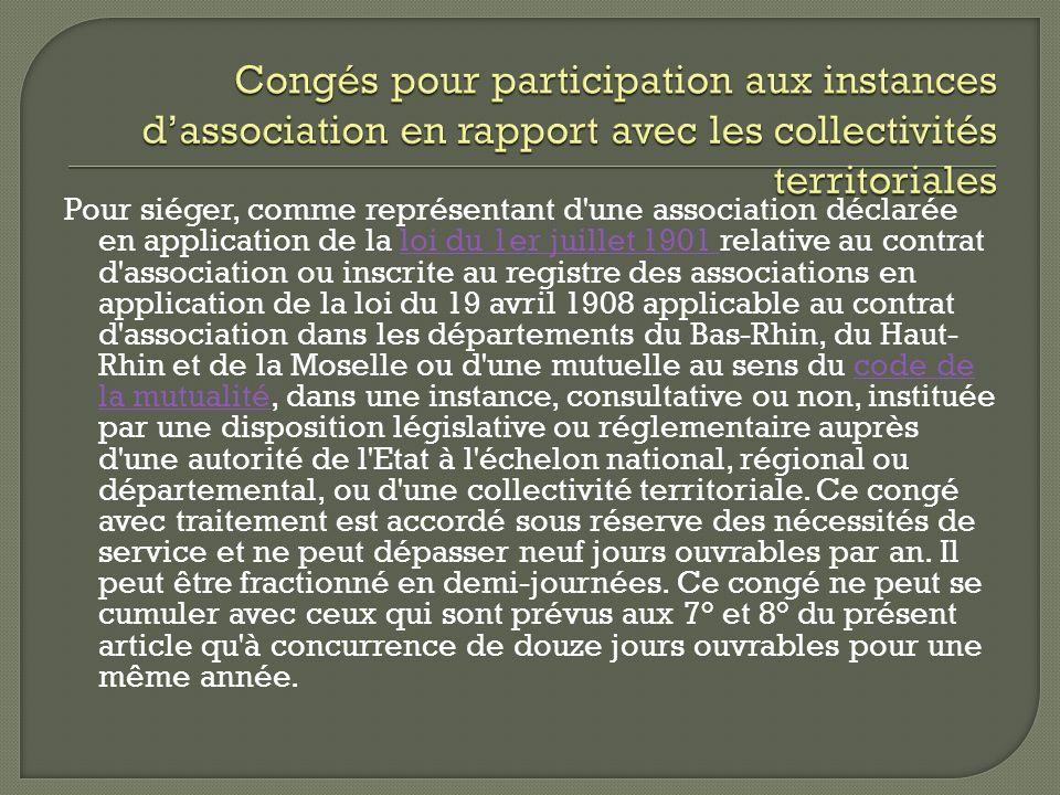 Congés pour participation aux instances d'association en rapport avec les collectivités territoriales