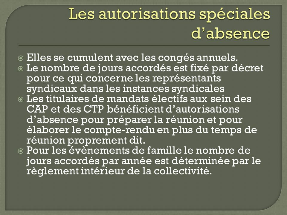 Les autorisations spéciales d'absence