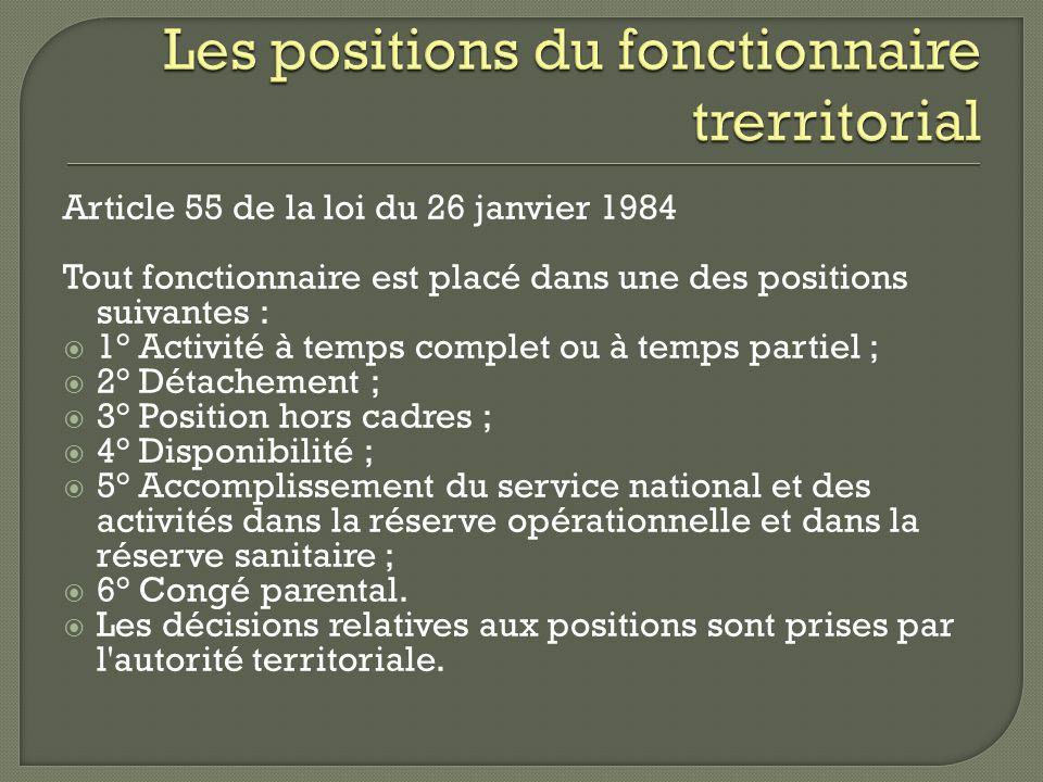 Les positions du fonctionnaire trerritorial