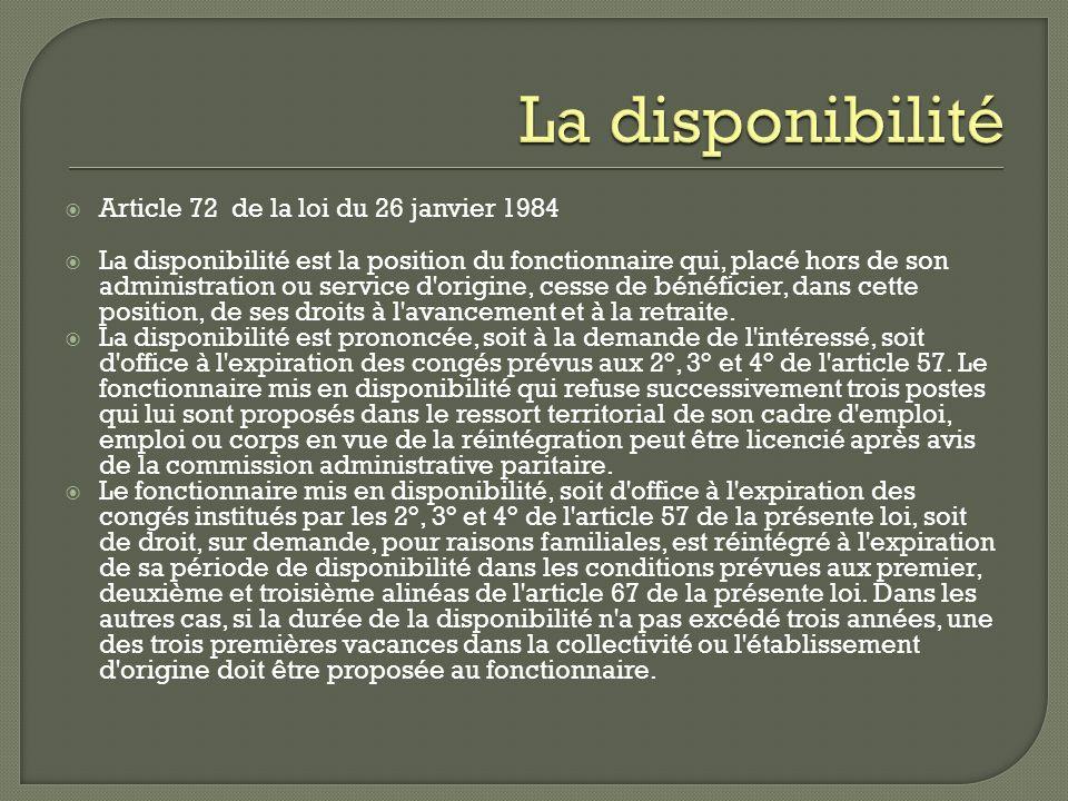 La disponibilité Article 72 de la loi du 26 janvier 1984