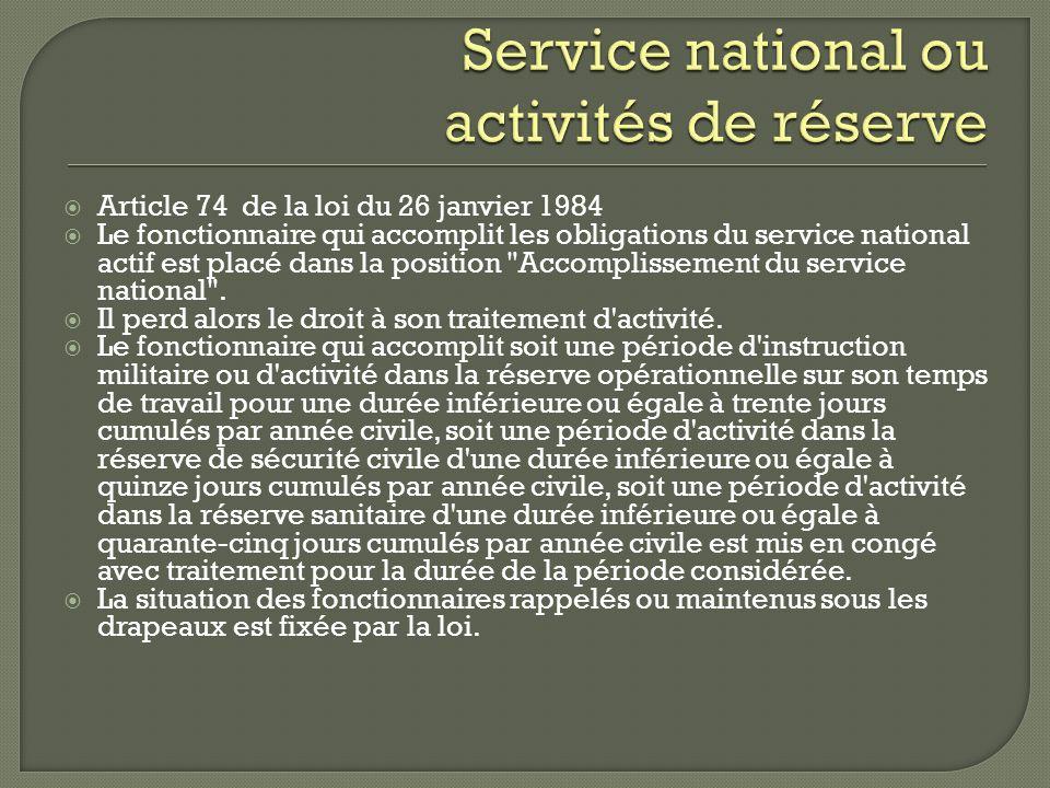 Service national ou activités de réserve