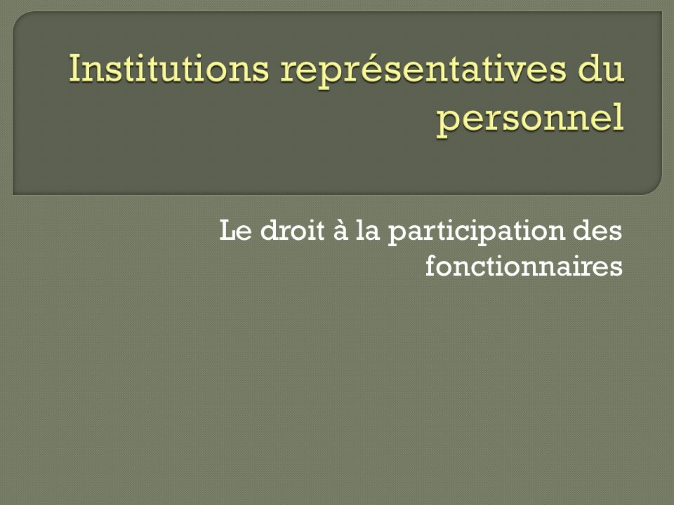 Institutions représentatives du personnel