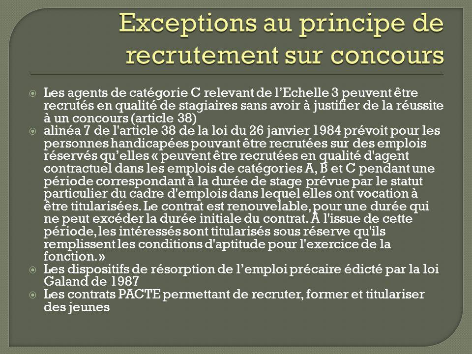 Exceptions au principe de recrutement sur concours