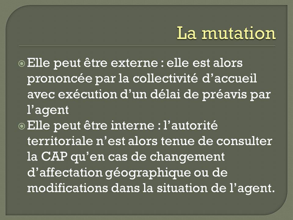 La mutation Elle peut être externe : elle est alors prononcée par la collectivité d'accueil avec exécution d'un délai de préavis par l'agent.